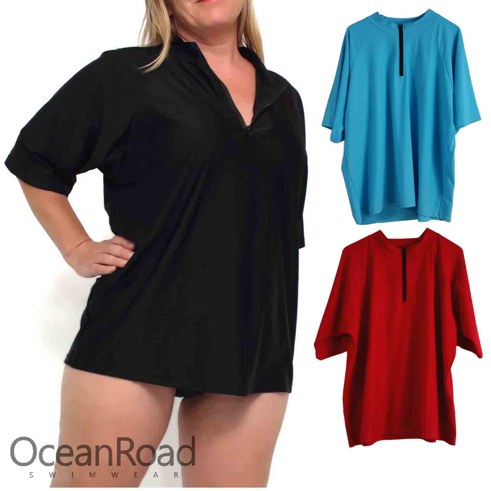 5bff2d794ce4b LADIES PLUS SIZE LOOSE FIT RASHIE · Ladies Rashie Plus Size with Black Short  Sleeves and Zip