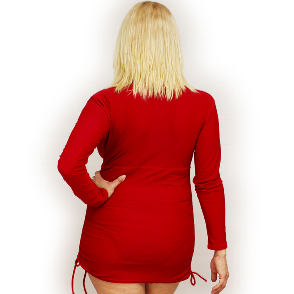 Plus Size Red Rash Guard For Women