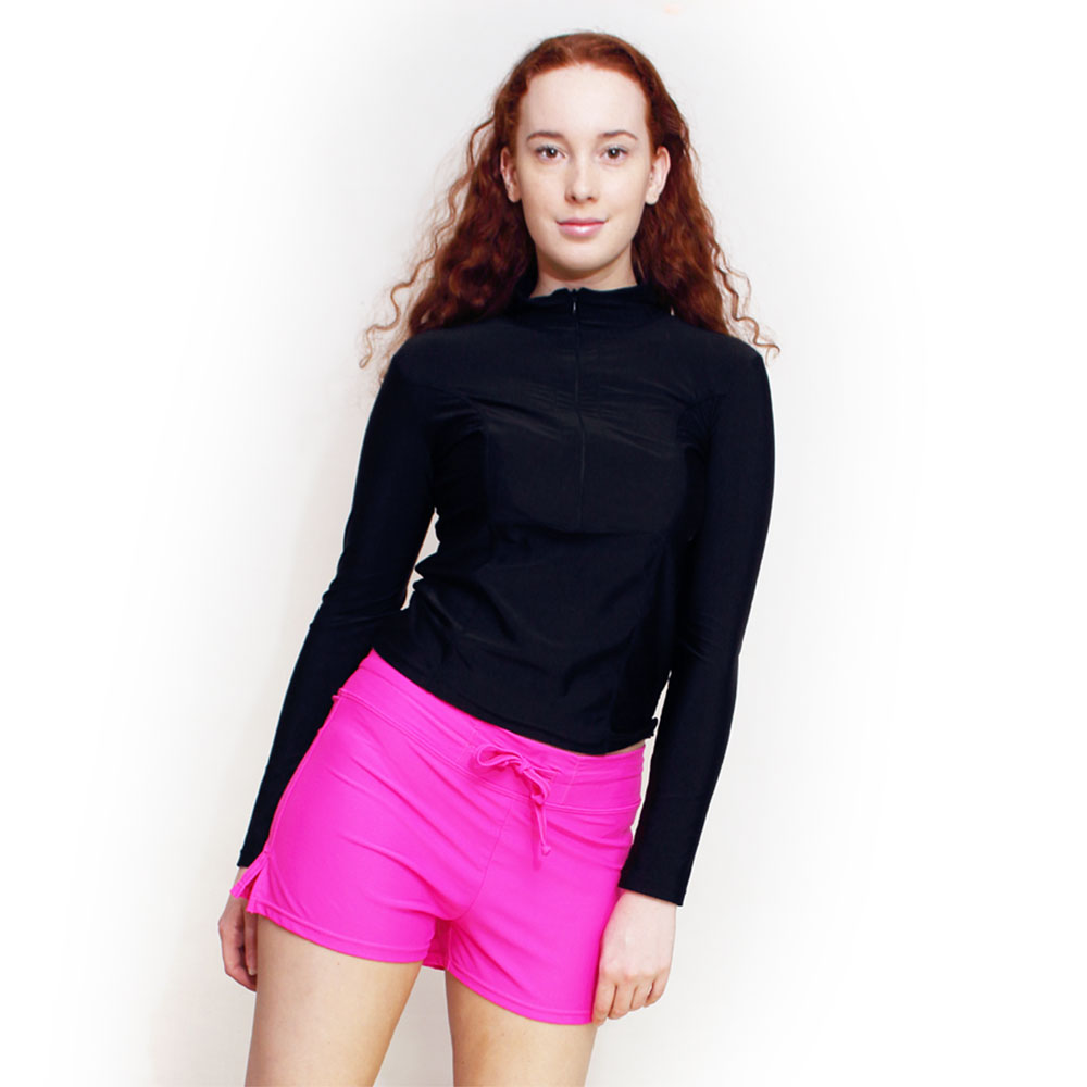 4894f2574b71b swim shirt set two piece for women · pink shorts   rash guard ...